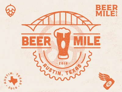 Austin Beer Mile Logos tshirt hops illustration run beer crest lockup seal logo branding badge