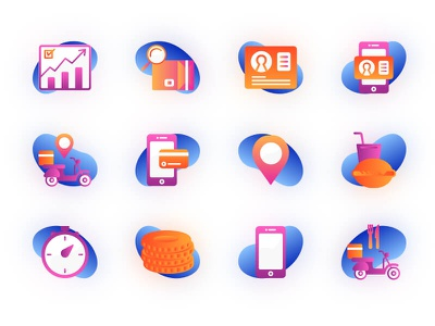 Food Delivery Icons clean flat web design delivery food app branding vector illustration mobile icon