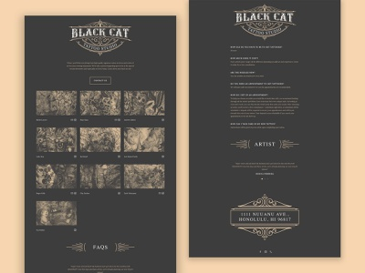 Tattoo Website Redesign ui clean landing page hawaii black cat responsive mobile redesign website design website tattoo artist tattoo