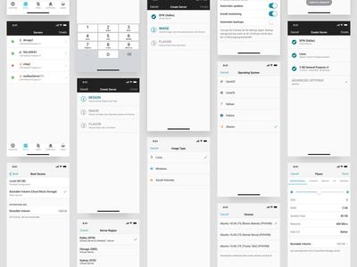 Server Management Mockups internet vpn server hosting ios android ui ux mobile app