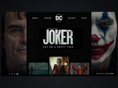 Joker 2019 ux concept ui design uiux web design concept web design warner bros landing page movie dccomics adobexd joker