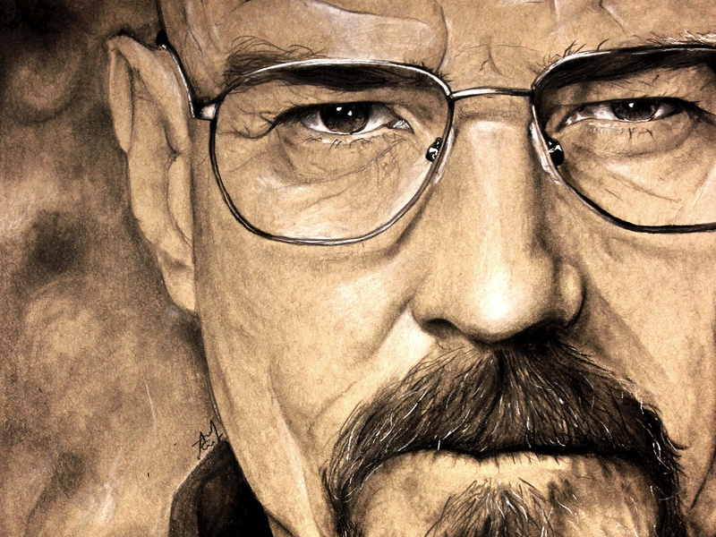Mr. White - Breaking Bad glasses charcoal pencil drawing brown tan mixed media art traditional art drawing mr white heisenberg breaking bad br ba walter white breakingbad