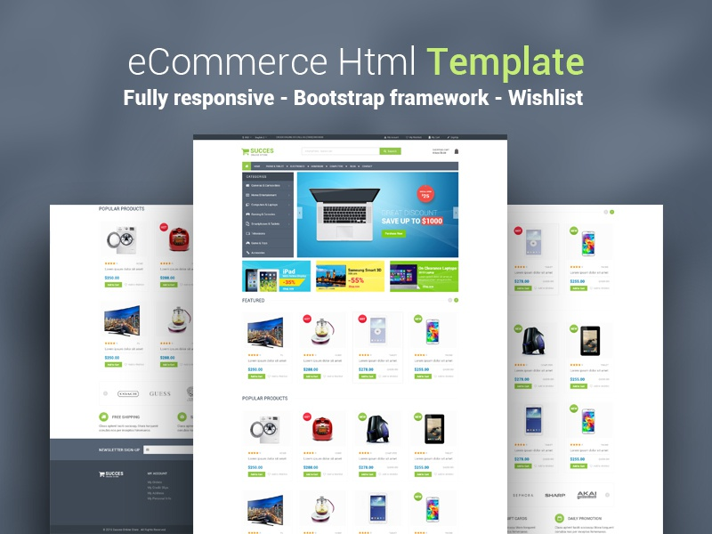 Succes - eCommerce Website ecommerce bootstrap store onepage fontawesome clean cleandesign products online envato themeforest htm