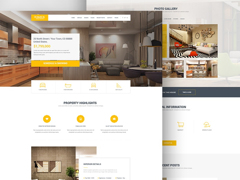 25 North - Single Property Real Estate responsive inspiration rental html real estate web design one page themeforest