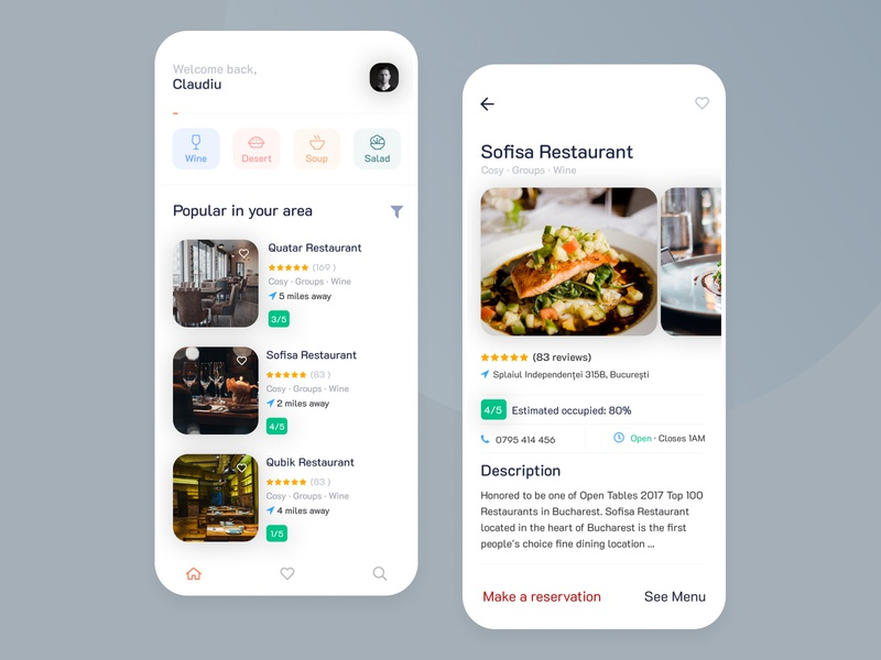 Restaurants Occupancy App restaurant clean ui minimalist mobile app ux ui interface application figma