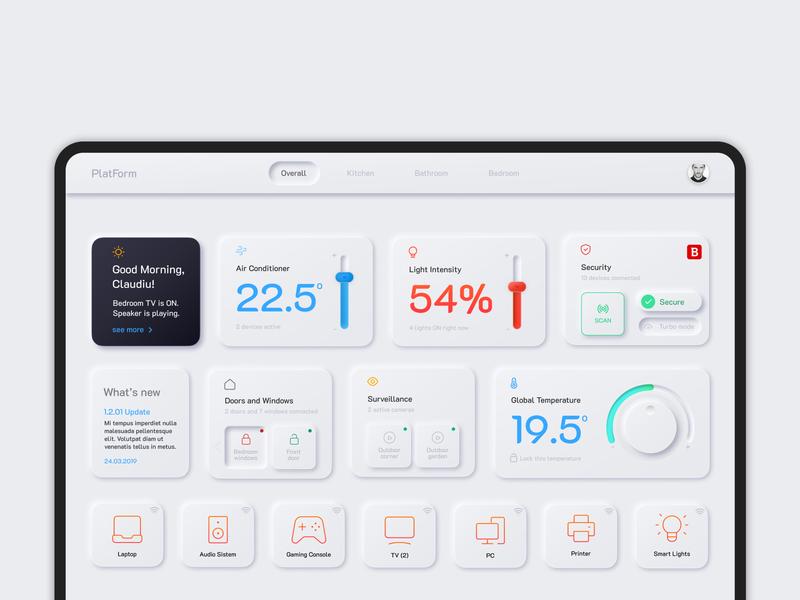 Smart Home Dashboard neumorphic skeuomorphic technology application figma ux interface ui dashboard