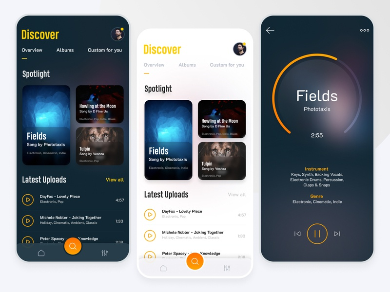 Music Library App ui ux figma application interface concept music app music player music library music store