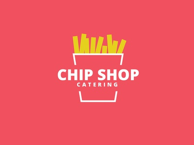 Chip Shop Catering (WIP) outline line red design brand illustration logo fast food fries chip wip