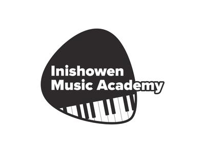 Inishowen Music Academy white black piano mono brand branding logo music