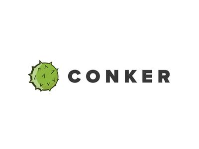 Conker nature green logo mark illustration branding logo chestnut conker
