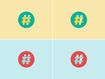 Social content platform branding - feedback wanted logomark icon blue red yellow green feedback logo hashtag social branding brand