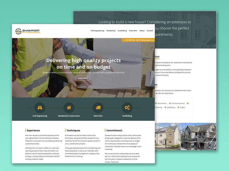 Shawport website irish website ui design web web design designer ireland graphic design yellow green civil construction brochure website html css