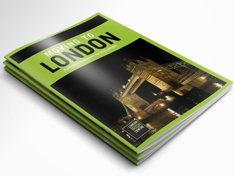 Moving to London ireland london guide help booklet art design charity black green graphicdesign graphics graphic design graphic book print