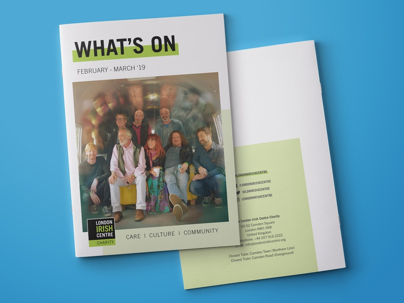 London Irish Centre - Event Guide layout book event charity magazine graphicdesign graphic design graphic clean art design blue white green print