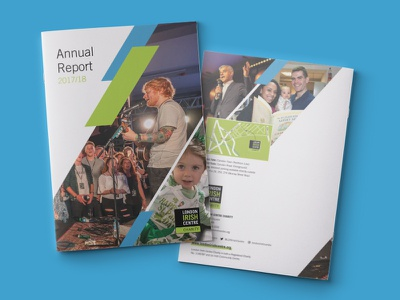 London Irish Centre - Annual Report 17/18 london irish brand annual report music white print report layout green graphic design graphicdesign graphic event design clean charity book blue art