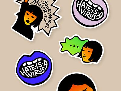Stickers stopaapihate stopasianhate hateisavirus stickers