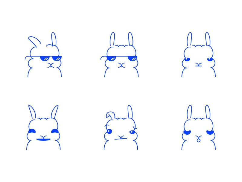 Bunnimoji faces emoticons emoji bunnies bunny