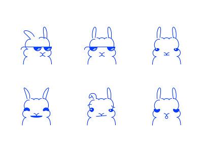 Bunnimoji faces emoticons emoji bunnies bunny