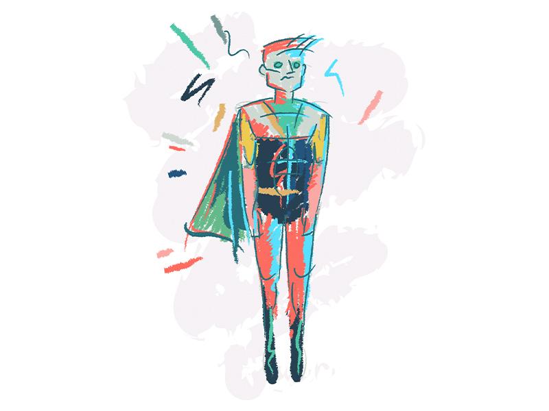 Monday Night Doodle superhero sketch doodle
