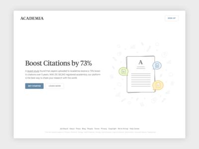 New Academia Homepage illustration minimal ui landing landing page homepage web design web page website