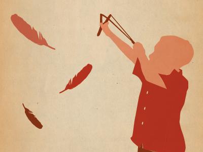 Slingshot design vector illustration poster feather slingshot