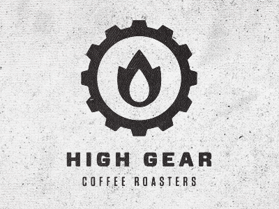 High Gear Coffee Roasters logo typography texture icon design