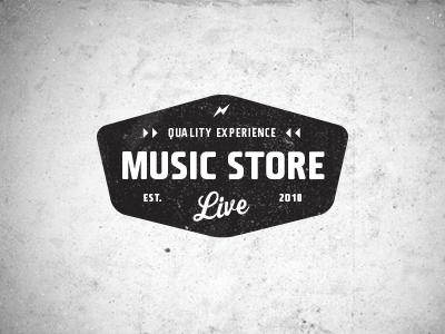 Music Store Live Logo 1 logo music badge brand vintage retro