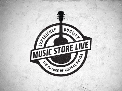 Music Store Live Logo 2 logo music badge brand vintage retro