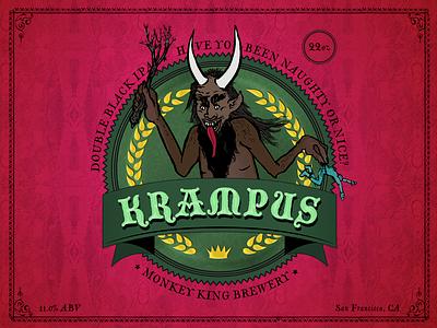 Illustration for a Beer Label: The Krampus victorian illustration packaging label beer