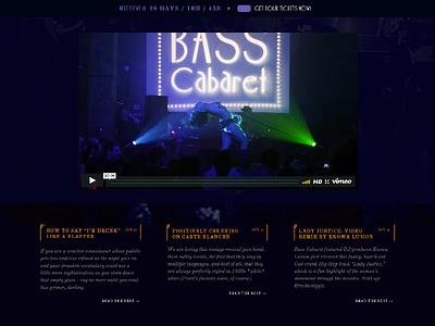 Bass Cabaret Web Design Preview 1920s art deco columns blog typography serif vintage web design