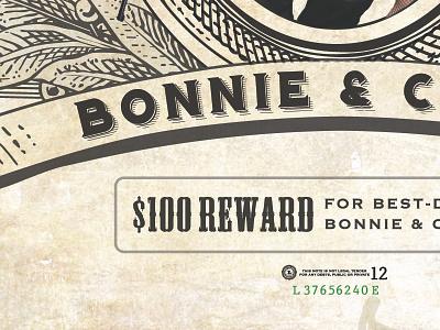 Bonnie & Clyde flyer design typography vintage 1930s western