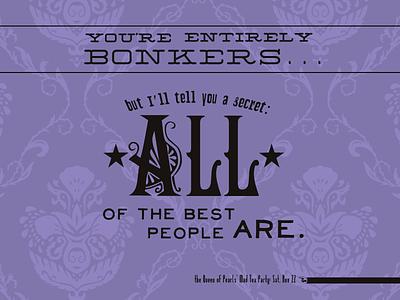 Social Media Graphic Series - Bonkers victorian word art typography social media alice in wonderland