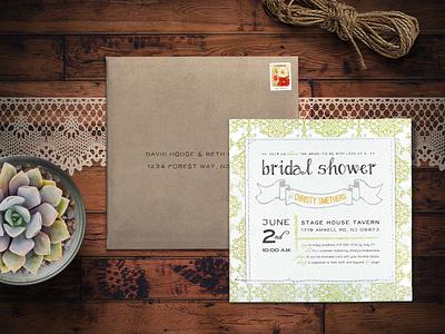 Rustic Bridal Shower Invitation shabby chic rustic