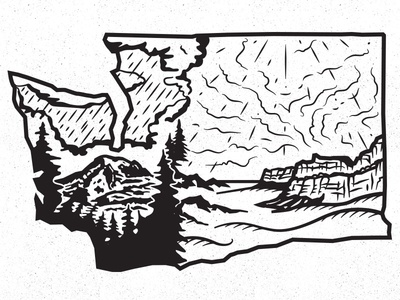 E W Ashington nature landscape design illustration state washington
