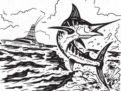 Marlin sea ocean boat fishing design illustration fish marlin