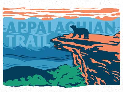 AT hiking at design illustration bear trail appalachian