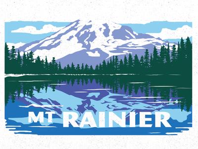 Rainier mountain design illustration state park washington rainier mount