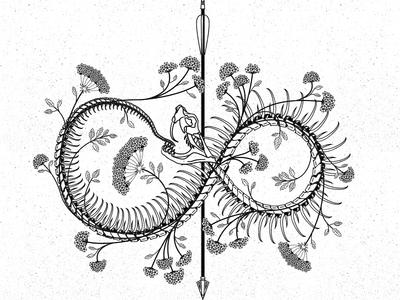 Snake Arrow goth design illustration flowers arrow skeleton snake