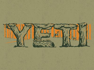 Forest tree orange deer forest illustration design