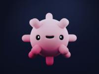 Small Virus lowpoly character design virus