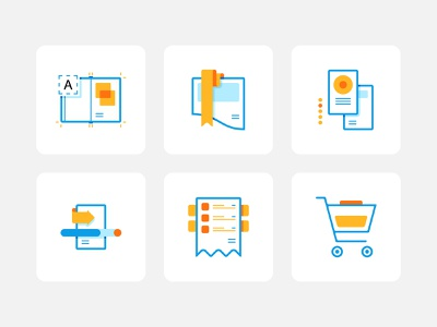 Icon set design for Boekdrukken clean simple minimal modern mark web app abstract interface branding illustration bright vector startup graphic design icons icon iconset ui design