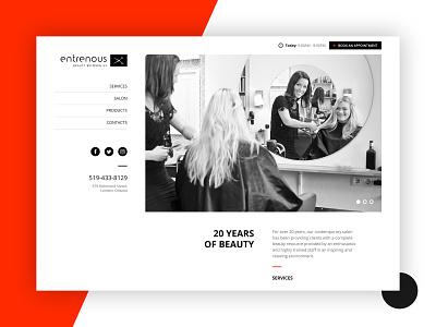 Website design for Salon Entrenous red flat digital simple minimal modern webdesign web design website web graphic design ux design ux design