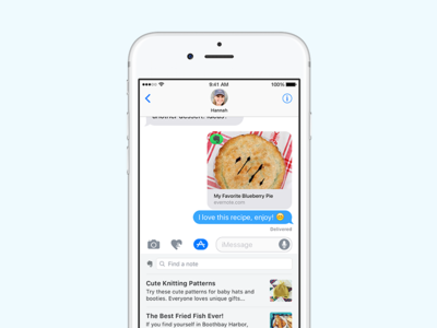 Evernote + iMessage! pie messaging imessage sharing evernote ios 10 ios