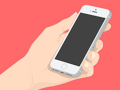 Flat design design flat phone hand