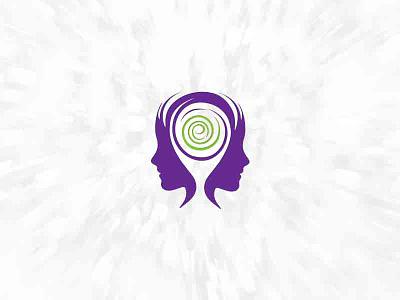 Psikoloji logo logotype women spiral psychology psychiatry person e logo identity head face brand brain
