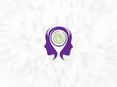 Psikoloji logo logotype women spiral psychology psychiatry person e logo identity head face brand brain