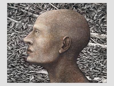 Illustration Untitled acrylic scratchboard illustration