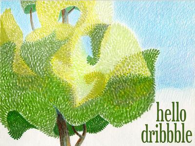 Hello Dribbble colored pencil marker illustration