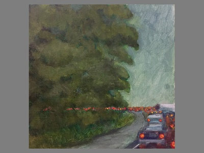 Personal Work - Rainy Commute personal work acrylic