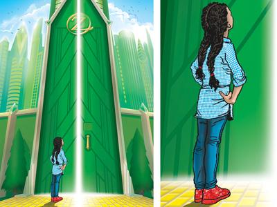 Illustration for Girls Inc. of Indianapolis hand drawn photoshop vector illustration